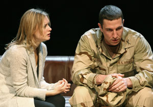 Rebecca Brooksher and Pablo Schreiber in Dying City (© Joan Marcus)