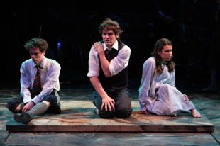 John Gallagher Jr., Jonathan Groff, and Lea Michele