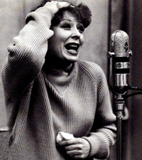 Gwen Verson at a recording session for Redhead in 1959