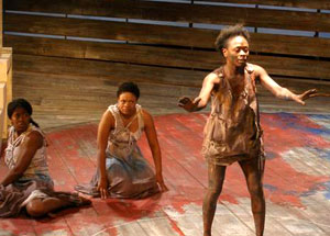 Tracey Jack, Sandra Miller, and Zainab Jah in (The Blood) Electra (© Troy Hourie)