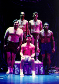 Clockwise from bottom: Romain Frugé,John Ellison Conlee, Marcus Neville,Jason Danieley, and André De Shieldsin The Full Monty(Photo: Craig Schwartz)