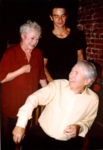 Aideen O'Kelly, Dara Coleman, and Frank McCourt (front) in apublicity shot for Red Roses and Petrol(Photo: Lon M. Teller)