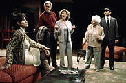 Michele Lee, Tony Roberts, Linda Lavin,Shirl Bernheim, and Anil Kumarin The Tale of the Allergist's Wife(Photo: Joan Marcus)