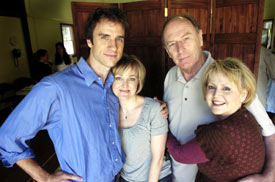 James Waterston, Geneva Carr, Paxton Whitehead and Cecilia Hart in Relatively Speaking (© Kathleen O'Rourke)