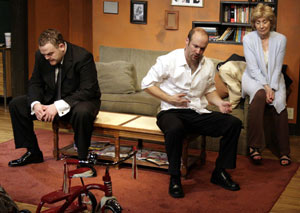 Ryan Woodle, Aaron Roman Weiner, and Peggy J. Scott in Two Thirds Home (© Jennifer Sayegh)