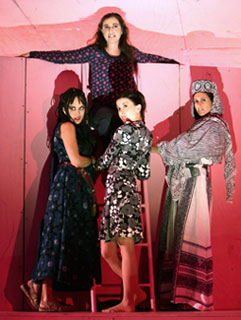 Emily Swallow, Aysan Celik, Jeanine Serralles, and Lameece Issaq in The Black Eyed (© Joan Marcus)