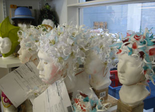 Wigs being made inside the IHQ's atelier