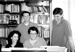 Thompson and Rabb (standing) rehearsing withJoanne Sydney Lessner and Joshua Rosenbloom
