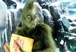 Jim Carrey in Ron Howard's film versionof How the Grinch Stole Christmas