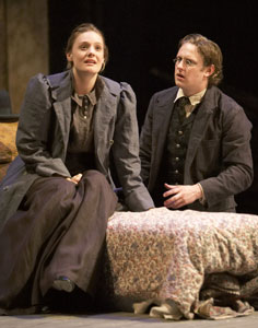 Romola Garai and Richard Goulding in The Seagull