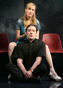 Janel Moloney and Jeremy Shamos in 100 Saints You Should Know (© Joan Marcus)