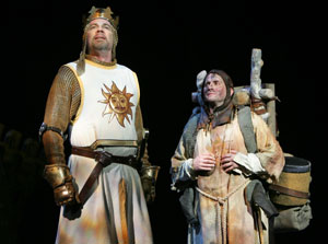 Michael Siberry and Jeff Dumas in Monty Python's Spamalot (© Joan Marcus)