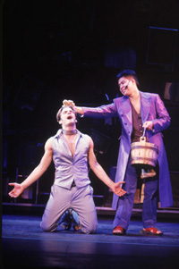 Joseph J. Carney andMichael Yuen in Godspell(Photo: Joan Marcus)