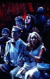Esparza with Jarrod Emick, Alice Ripleyand (rear) Deidre Goodwin, Kevin Cahoon,and James Stovall in Rocky Horror(Photo: Carol Rosegg)