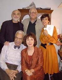 Back stage at Food for Thought,(clockwise from upper left):Edward Pomerantz, Peter Stone,Susan Charlotte, Maria Tucci, and Earle Hyman(Photo: H.E. Yhoman)