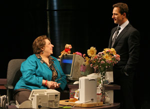 Jayne Houdyshell and Josh Charles in The Receptionist