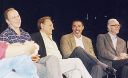 Actor P.J. Benjamin with Joseph Stein (book), Barry Harman (new lyrics), and Burton Lane (composer)during the Carmelina post-show discussionin September 1996