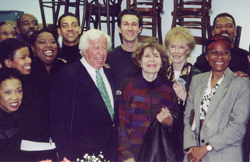 Adolph Green and Betty Comden (center)with some of the company of the Mufti productionof Hallelujah, Baby! in October 2000