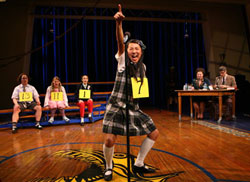 Greta Lee and company in The 25th Annual Putnam County Spelling Bee (© Joan Marcus)