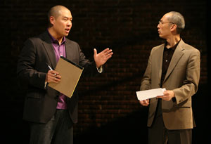 Hoon Lee and Francis Jue in Yellow Face (© Joan Marcus)