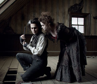 Johnny Depp and Helena Bonham Carter in Sweeney Todd