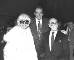 Colt with presenter Carol Channingand co-winner Miles Whiteat the 1995 Irene Sharaff Awards