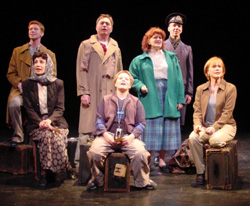 (l-r) Sean Dooley, Cynthia Sophiea, Jim Jacobson,Alexander Bonnin, Barbara Tirrell, Paul Niebanck,and Alice Vienneau in Leaving Queens(Photo:  Edwina Kippy Rudy)