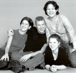 The participants in the 2000 Young Playwrights Festival: (l. to r.) Caroline Noble Whitbeck, Adam Feldman,Sherry Ou-Yang, and Gemma Cooper-Noback