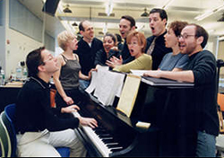 The Broadway cast of A Class Act in rehearsal