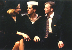 Olivia Birkelund, Anthony Veneziale,and Eric Martin Brown in Servicemen(Photo: Carol Rosegg)