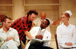 Eric Johner, Gary Sinise, K. Todd Freeman,and Amy Morton in One Flew Over the Cuckoo's Nest(Photo: Tristram Kenton)