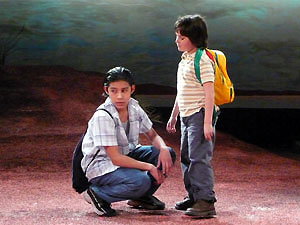 Steven D. Garcia and Sergio Ferreira in Our Dad Is in Atlantis (© Carel DiGrappa)