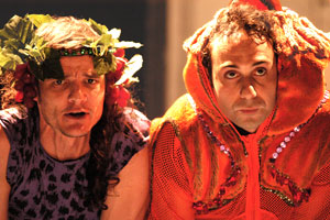 Pedro Pascal and Derek Lucci in Old Comedy from Aristophanes' Frogs (© Joe Dore)