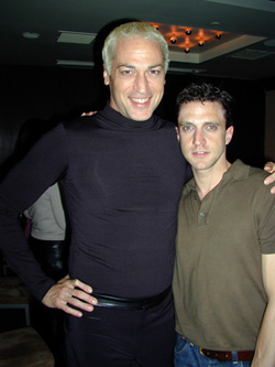 Raúl Esparza (right) with Tom Hewittat the Rocky Horror CD release party