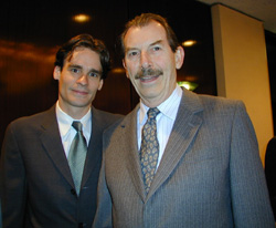 Robert Sean Leonard and Richard Eastonat the 2001 Tony Nominees' Brunch(Photo: Michael Portantiere)