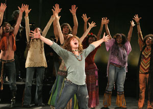 Jonathan Groff and company in Hair