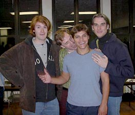 Deven May (second from right) before his head shaving,with Bat Boy creators (l-r) Laurence O'Keefe,Brian Flemming, and Keythe Farley at the first rehearsalfor the New York production(Photo courtesy of www.batboy-themusical.com)