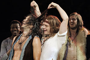 Ato Blankson-Wood, Will Swenson, Jonathan Groff, and Bryce Ryness in Hair