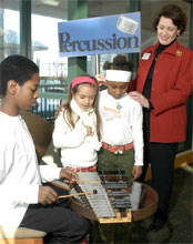 A young musician demonstrates