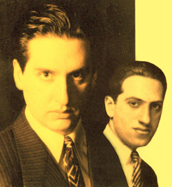 Hershey Felder (left) as George Gershwin (right)in George Gerhswin Alone