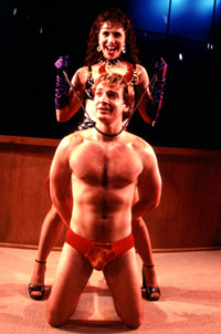 Jeff Juday (in the infamous red Speedo)and Jodie Langel in I Sing!(Photo: Carol Rosegg)