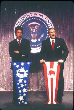 Michael West and Clif Thorn in Mr. President(Photo: Carol Rosegg)