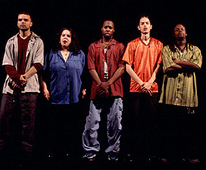 (l. to r.): Lemon, Mildred Ruiz, Gamal Abdel Chasten,Flaco Navaja, and Steven Sapp in Slanguage.(Photo: Joan Marcus)