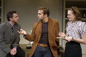 Raul Esparza, Jeremy Piven, and Elisabeth Moss