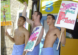 Members of the Naked Boys Singing companyprotesting at the Actors? Playhouse(Photo: H.E. Yhoman)