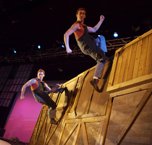 A scene from Cirque Mechanics in Birdhouse Factory