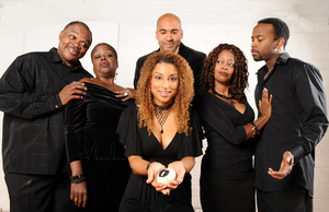 Sabrina Sloan (center) with Ken Prymus Jr., Lilias White, Josh Tower,