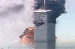 The World Trade Center in flamesthis morning before its collapse(Photo: WABC)