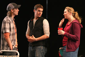 Zachary Booth, Jonathan Groff, and Cassie Beck
