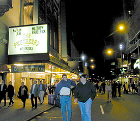 Theatergoers walking down West 44th Streetfollowing Broadway performances on Friday, September 14(Photo: Michael Portantiere)
